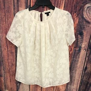 ANN TAYLOR CREAM FLORAL TOP MP